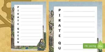 The Pirate Queen Acrostic Poem - Grace O'Malley, The Pirate Queen, Ireland, pirates, acrostic poem,Irish