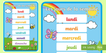 Poster d'affichage : Les jours de la semaine - Les jours, days, semaine, week, poster, display, date, cycle 1 ,French