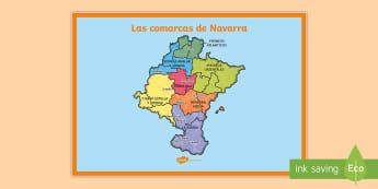 Póster DIN A2: Las comarcas de Navarra - Mapas, provinicias, mapas mudos, mapas en blanco, las ciudades de españa, comarcas, concejos, comun