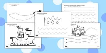 Pirate Themed Pencil Control Worksheets Arabic Translation - arabic