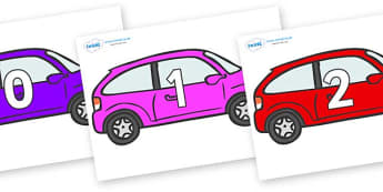Numbers 0-100 on Cars - 0-100, foundation stage numeracy, Number recognition, Number flashcards, counting, number frieze, Display numbers, number posters