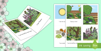 Spring Mini Book Emergent Reader - Spring, reading, sight words, mini book, sun, flowers, bees, park.