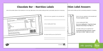 Chocolate Bar Nutrition Label Activity Sheet - Australia YR 3 and 4 Design Technology, food and nutrition labels, food labels, worksheet, nutrition