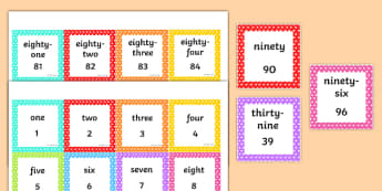 Number Words and Numerals 1-100 Square Number Cards - one, hundred, numbers, pattern, sequence, numeracy, maths, visual aid, ks1, eyfs,