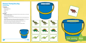 Dinosaurs Posting Busy Bag Resource Pack for Parents - Harry and the Bucketful of Dinosaurs, Ian Whybrow, counting, number, dice, addition, adding,