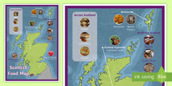 Scottish Food map Display Poster - Scottish Food Map - scottish, food, maps, foods, britain, maps,Scotland, scottish food, scottish tra