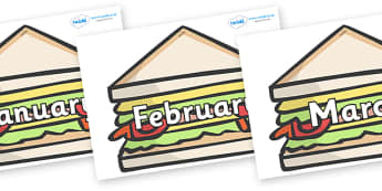 Months of the Year on Sandwiches to Support Teaching on The Lighthouse Keeper's Lunch - Months of the Year, Months poster, Months display, display, poster, frieze, Months, month, January, February, March, April, May, June, July, August, September