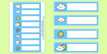 Weather Gratnells Tray Labels - seasons, signs, weather display