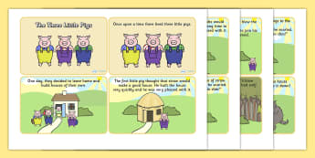 The Three Little Pigs Story Cards -  the three little pigs, the three little pigs story sequencing, three little pigs sequencing cards, traditional tales
