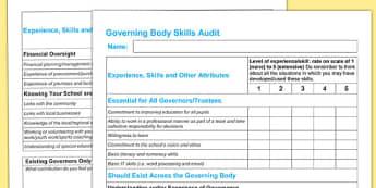 Governing Body Skills Audit - governing body, skills, audit