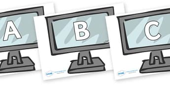A-Z Alphabet on Monitors - A-Z, A4, display, Alphabet frieze, Display letters, Letter posters, A-Z letters, Alphabet flashcards