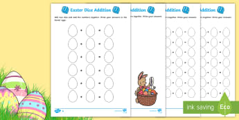 Differentiated Easter Dice Addition Activity Sheet - Australia Easter Maths, easter, australia, mathematics, addition, dice, KS1, adding, number and alge
