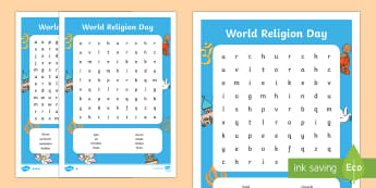 World Religion Day Word Search - World Religion Day 15th January, World Religion Day crossword, Judaism, Hinduism, Buddhist, Christia