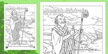 Naomh Pádraig Senior Colouring Page-Irish - st patrick's day colouring, st patrick's senior colouring, Saint Patricks Day, St Pat Day, Patrick