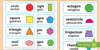 2D Shape Word Cards English/Italian - 2D Shape Word Cards - 2D Shape names, Shape Flashcards, Shape Pictures, Shape Words, 2D flashcards,