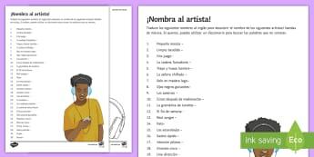Name The Artist Spanish Activity Sheet - dictionary, skills, translation, music, bands, worksheet