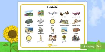 L'estate Vocabolario Illustrato - estate, vocabolario, illustrato, leggere, scrivere, materiale, scolastico, italiano, italian, stagio