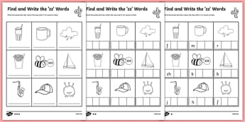 Find and Write the zz Words Differentiated Activity Sheet Pack, worksheet