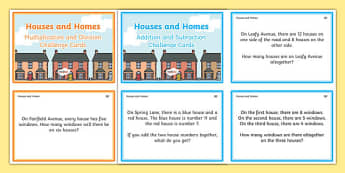 Houses and Homes KS1 Word Problems Maths Challenge Cards