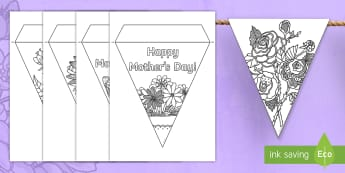 Mother's Day Mindfulness Colouring Display Bunting - KS1 & KS2 Mother's Day UK (26.3.17)