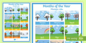 Months of the Year Poster English/Polish - Months of the Year Poster - months, year, poster, display, display poster,months of the yearenglish,