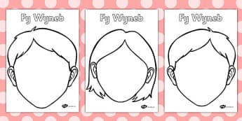 Templed 'Fy Wyneb' - blank, faces, templates, welsh