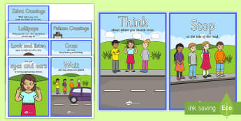 Road Crossing Safety Cards - road crossing, crossing, safe, cards, flashcards, road signs, give way, one way, stop, road safety, rules