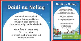 Daidí na Nollag, Dán Display Poster-Irish - Santa Claus, Daidí na Nollag, Christmas, Nollag, Irish, Gaeilge, Poem, Poetry, Dán, Dánta,Irish