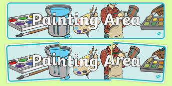 Painting Area Display Banner - Paint, creative area, poster, display, banner, sign, mix, colour, black, white, red, green, blue, yellow, orange, purple, pink, brown