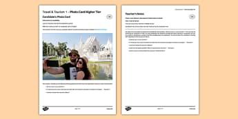 Les voyages & le tourisme 1 Carte photo Higher Tier - GCSE, languages, French, display