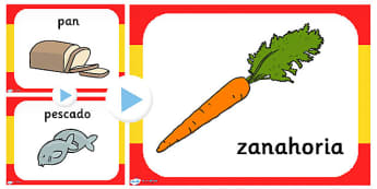 Spanish Food PowerPoint - visual display, foods, visual, aid
