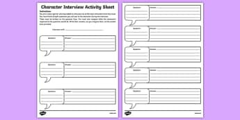 Character Interview Activity Sheet-Irish, worksheet