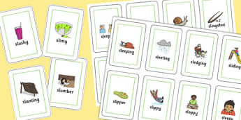 Two Syllable SL Sound Playing Cards - sen, sound, sl sound, sl, sen, two syllable, playing cards
