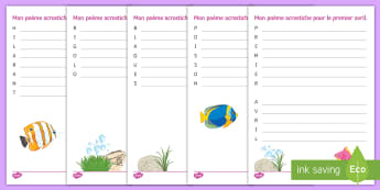 April Fools' Acrostic Poem French  - Poisson d'avril, April Fools Day, April Fool's Day, 1st April, 1er avril, premier avril, joke, bla