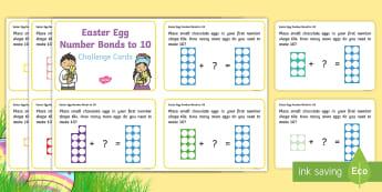 Easter Egg Number Bonds to 10 Number Shapes Challenge Cards - number bonds to 10, bonds to ten, addition, challenge cards, numicon, number shapes, eggs, Easter, c