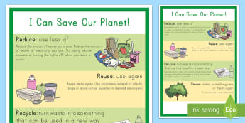Reduce, Reuse, Recycle, Renew Display Poster - Earth Day, reduce, reuse, recycle, renew, earth, planet, conservation, energy, poster, display
