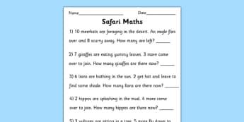 Safari Themed Maths Word Problems Worksheet to 10 - safari, safari maths problems, safari numeracy,safari maths worksheet, safari addition, safari subtraction