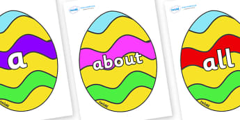 100 High Frequency Words on Easter Eggs (Striped) - High frequency words, hfw, DfES Letters and Sounds, Letters and Sounds, display words