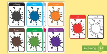 Farben Wort- und Bildkarten - Colour Flash Cards - colour, flash cards, visual aids, cards, flashcard,German