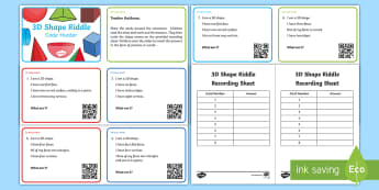 KS1 3D Shape Riddle Code Hunter - KS1, Key Stage One, Key Stage 1, Year 1, Year 2, Year One, Year Two, Maths, Numeracy, Shape, 3D, Thr