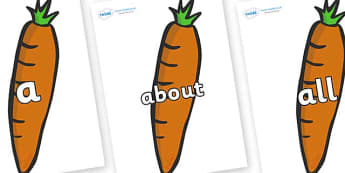 100 High Frequency Words on Carrots - High frequency words, hfw, DfES Letters and Sounds, Letters and Sounds, display words