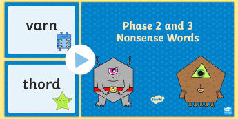 Phase 2 and 3 Nonsense Words Phonics Screening Support PowerPoint - Phonics Screening Check Resources, Year 1, letters and sounds, Phase 2, Phase 3, nonsense words, dec