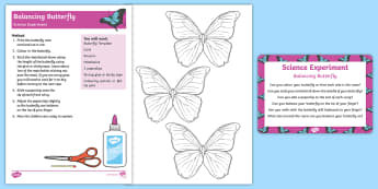 Balancing Butterfly Science Experiment and Prompt Card Pack - minibeasts, minibeast, centre of gravity
