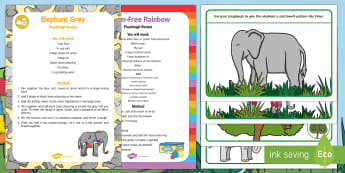 Colourful Elephants Playdough Recipe and Mat Pack - Elmer, David McKee, colour, playdoh, play dough, model, elephant,