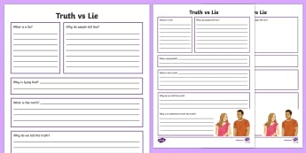 Truth vs Lie Writing Activity Sheet - Telling the truth, friendships, honesty, lying, ASD, autism, ks3, secondary, sen