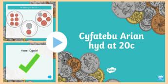 Pŵerbwynt Cyfatebu Arian hyd at 20c - Arian, Money, Rheoli Arian, Manage Money, Wales, money, arian, cyfri, adio, cyfanswm, total, adding,