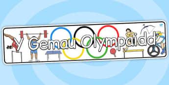 Baner 'Gemau Olympaidd' - sport, athletics, displays
