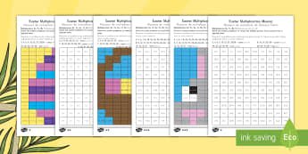 Easter Multiplication Mosaics Differentiated Activity Sheets US English/Spanish (Latin)  - Grade 3 times tables, Grade 4 times tables, LKS2 times tables, Y3 times tables, Yr 4 times tables, L