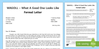 WAGOLL Formal Letter  Writing Sample - English, text types, letter writing ,Australia, wagoll, good examples, formal letters,
