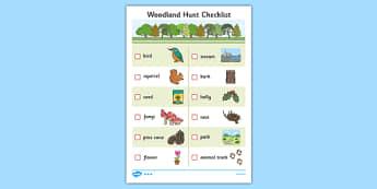 Woodland Hunt Checklist - woodland, hunt, checklist, check, list